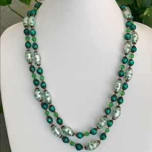 Green Art glass necklace